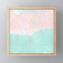 Watercolor abstract and golden triangles design Framed Mini Art Print