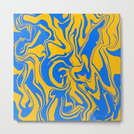 Blue and Yellow Abstract Marble Melt Metal Print