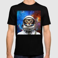 Astronaut Cat #2 Mens Fitted Tee LARGE Black
