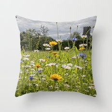 English Wildflower Meadow Throw Pillow
