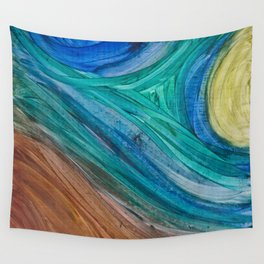 Blue Woodgrain Wall Tapestry