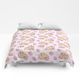 Pink Strawberries and Guinea pig pattern Comforters