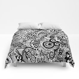 Mushy Madness doodle art Black and White Comforters