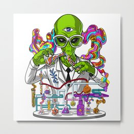 Alien Psychedelic Scientist Metal Print