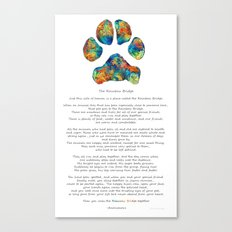 Rainbow Bridge Poem With Colorful Paw Print by Sharon Cummings Canvas Print