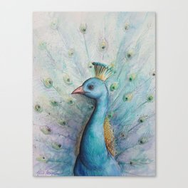"""Proud Peacock Profile"" Canvas Print"