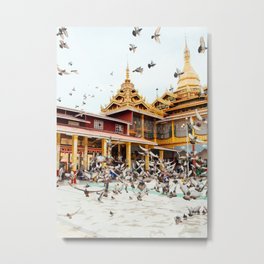 Pigeons descend on Buddhist Temple in Burma Fine Art Print Metal Print