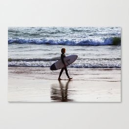 Surfer on the beach Canvas Print