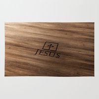 bible Area & Throw Rugs featuring Jesus (wood) - Bible Lock Screens by Bible Lock Screens
