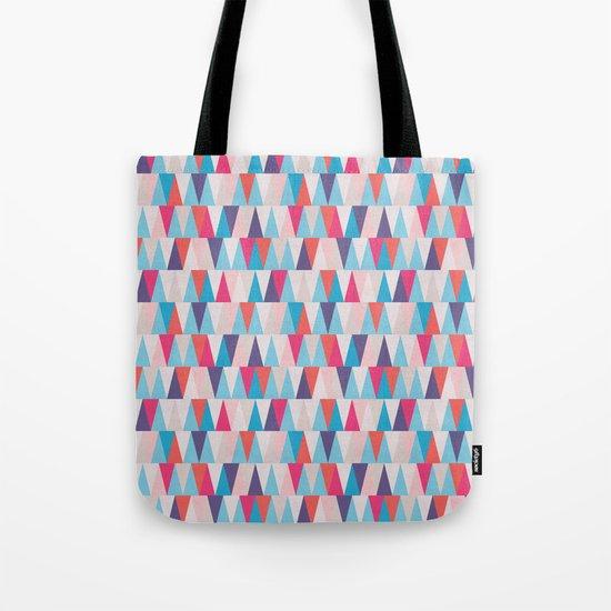 Blue & Pink Geometric Triangle Pattern Tote Bag