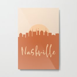 NASHVILLE TENNESSEE CITY SUN SKYLINE EARTH TONES Metal Print