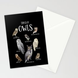 Types of owls, Owl lover Gift, Barn Owl, Snow Owl Stationery Cards
