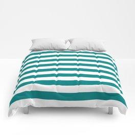 Narrow Horizontal Stripes - White and Dark Cyan Comforters