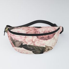 Vintage & Shabby Chic Pink Floral camellia flowers watercolor pattern Fanny Pack