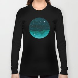 Starry Ocean, teal sailboat watercolor sea waves night Long Sleeve T-shirt