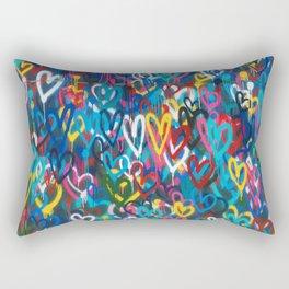 Graffiti Hearts Love (Color) Rectangular Pillow