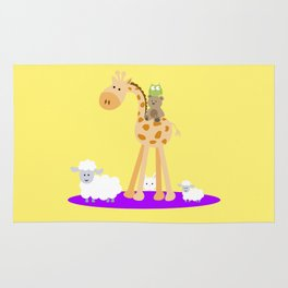 Giraffe and friends children's  room decoration Rug