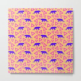 Wild African walking purple lion silhouettes and abstract triangle shapes. Stylish classy warm sunny pastel peach orange retro vintage geometric animal nature pattern. Metal Print