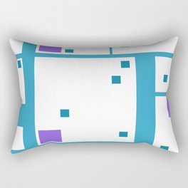 Violet Rectangle with turquoise Lines Rectangular Pillow