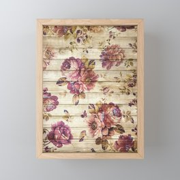Rustic Vintage Country Floral Wood Romantic Framed Mini Art Print