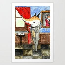 Fox enjoying a cup of tea Art Print