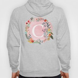 Flower Wreath with Personalized Monogram Initial Letter C on Pink Watercolor Paper Texture Artwork Hoody