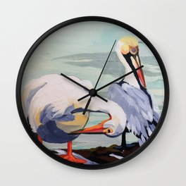 Preening Pelicans Wall Clock