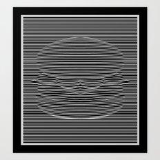 Cheeseburger Optical Illusion Art Print