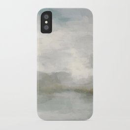 Modern Abstract Painting, Light Teal, Sage Green, Gray Cloudy Weather Digital Prints Wall Art, Ocean iPhone Case