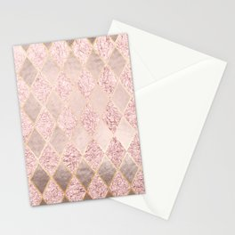 Blush Rose Gold Glitter Argyle Stationery Cards