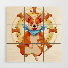 Zen corgi Wood Wall Art