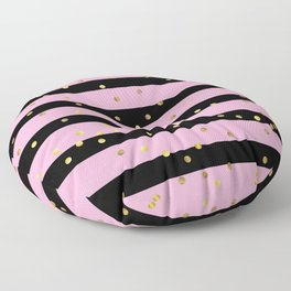 Christmas Golden confetti on Black and Pink Stripes Floor Pillow