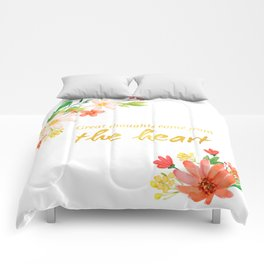 Great Thoughts come from the heart - Gold and flowers Comforters