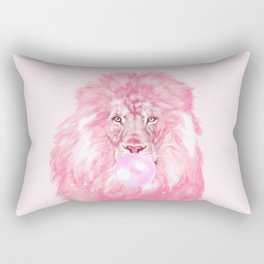 Lion Chewing Bubble Gum in Pink Rectangular Pillow