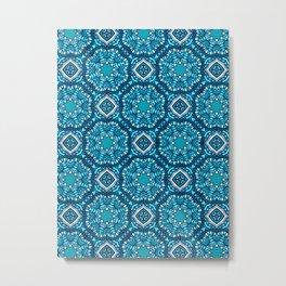 Moroccan Tile Pattern - Turquoise Metal Print