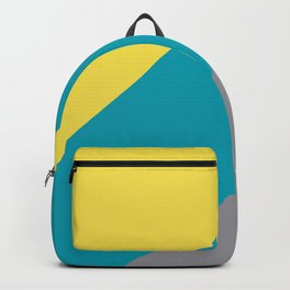 Grey Yellow Aqua Line Design Solid Colors 2021 Color of the Years and Accent Hue Backpack