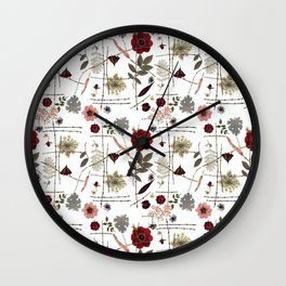 Red Anemones and Roses Wall Clock