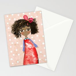 Africa Sun kissed Doll Red Dress Stationery Cards