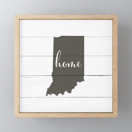 Indiana is Home - Charcoal on White Wood Framed Mini Art Print