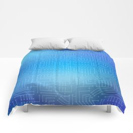 Circuit board on blue gradient background Comforters
