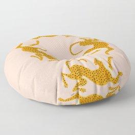 Leopard Race - pink Floor Pillow