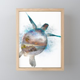 Turtle Double Exposure Watercolor Framed Mini Art Print