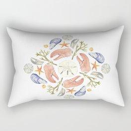 Tide Pool Beach Mandala 5 - Watercolor Rectangular Pillow