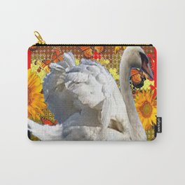 Abstracted Swan IN Red-Black Sunflowers Butterflies Carry-All Pouch