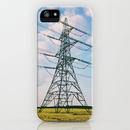 Electricity pylon in field of yellow rapeseed iPhone Case