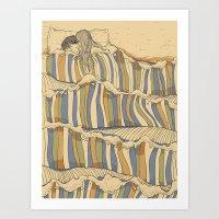 minimal Art Prints featuring Ocean of love by Huebucket