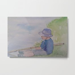 Boy Fishing WC181119g Metal Print