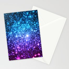 Glitter Galaxy Stars : Turquoise Blue Purple Hot Pink Ombre Stationery Cards