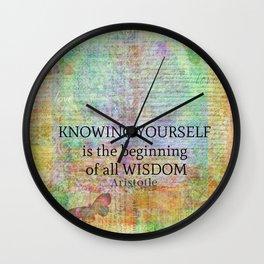 Aristotle WISDOM quote Wall Clock