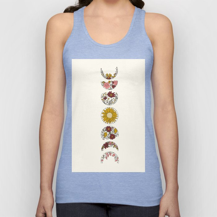 Floral Phases of the Moon Unisex Tank Top